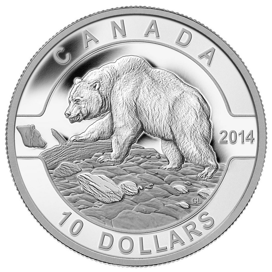 2014 Canada Fine Silver $10 Ten Dollars-Grizzly Bear