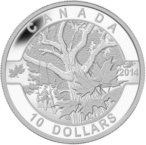 2014 Canada Fine Silver $10 Ten Dollars-Down by the Old Maple Tree