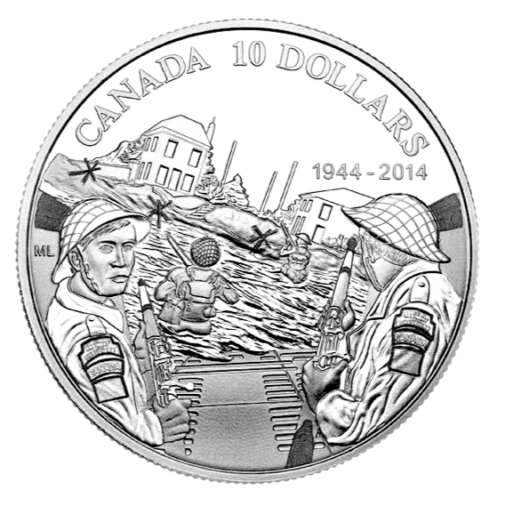 2014 Canada Fine Silver $10 Ten Dollars-70th Anniversary of the D-Day (1944)