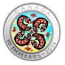 2014 Canada Fine Silver $10 Ten Dollars-First Nation Art Series-Salmon