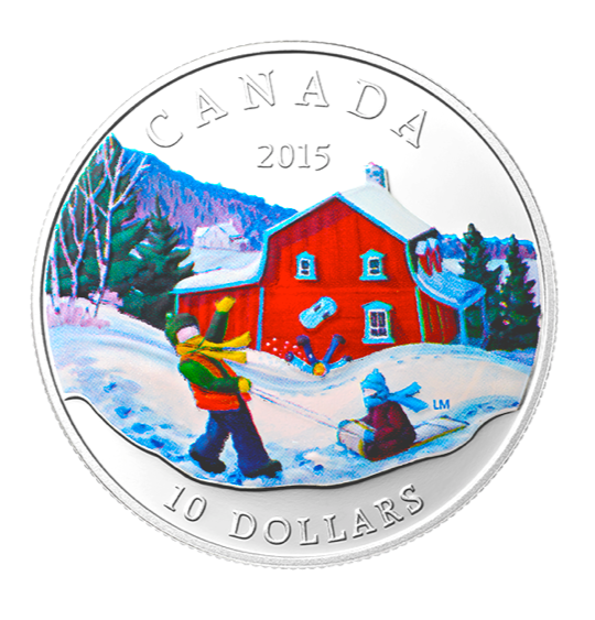 2015 Canada Fine Silver $10 Ten Dollars-Winter Scene