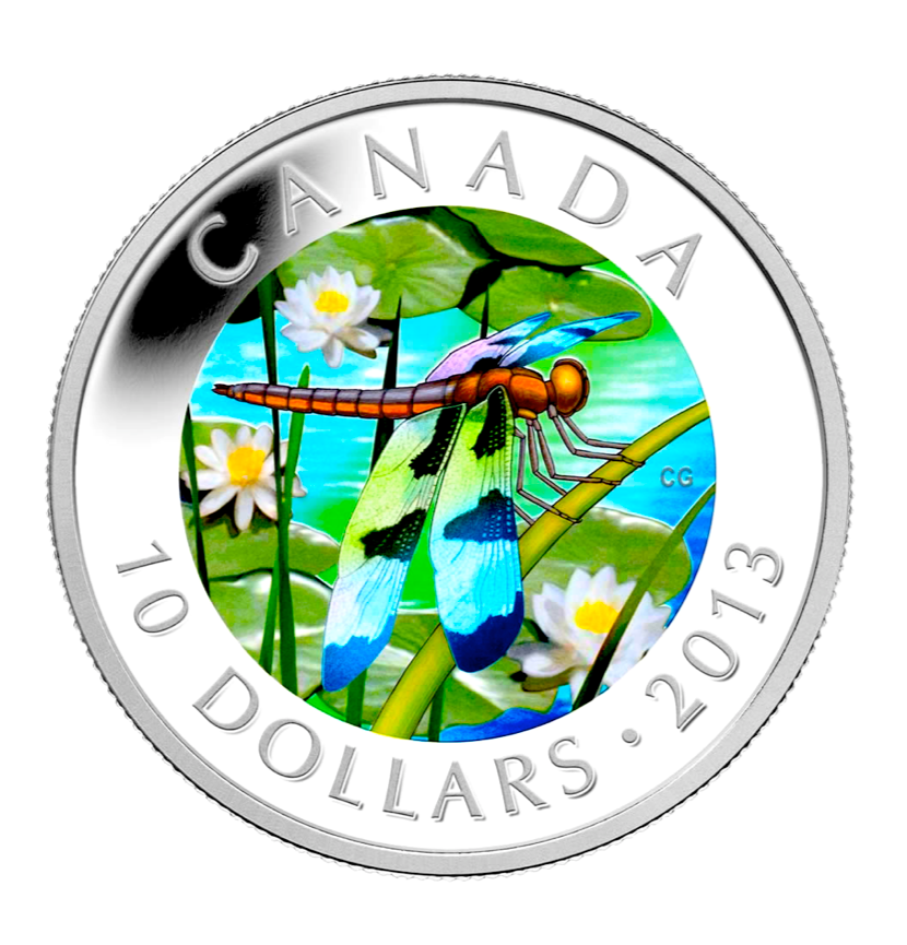 2013 Canada Fine Silver $10 Ten Dollars-Twelve-Spotted Skimmer Dragonfly