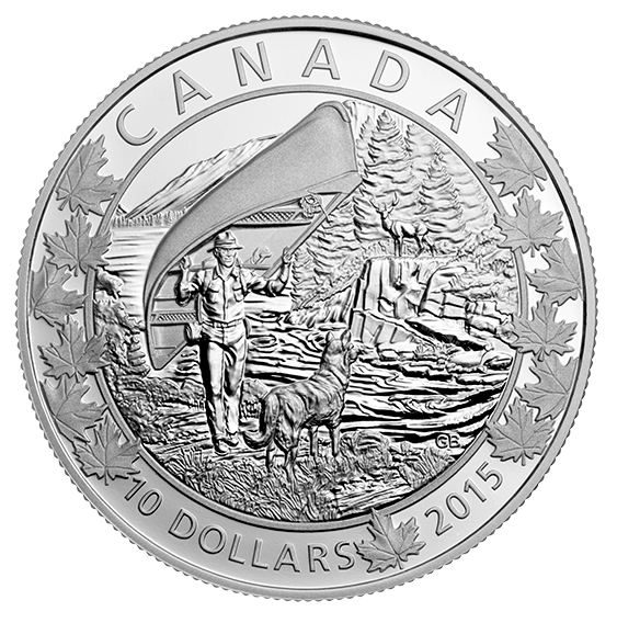 2015 Canada Fine Silver $10 Ten Dollars-Canoe series-Wondrous West
