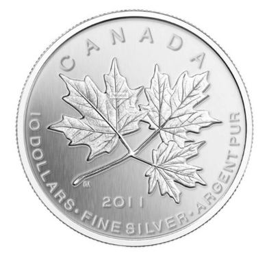 2011 Canada $10 Ten Dollars-Maple leaf Forever 1/2 oz