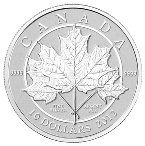 2012 Canada $10 Ten Dollars-Maple leaf Forever 1/2 oz