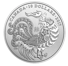 2017 Canada Fine Silver $10 Ten Dollars-Year of the Rooster