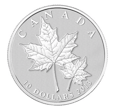 2013 Canada $10 Ten Dollars-Maple leaf Forever 1/2 oz