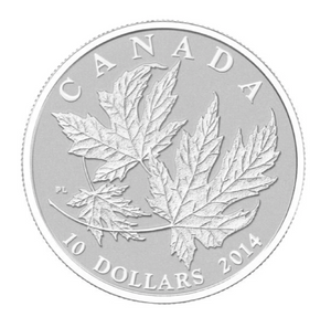 2014 Canada $10 Ten Dollars-Maple leaf Forever 1/2 oz