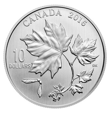 2016 Canada $10 Ten Dollars-Maple leaf Forever 1/2 oz