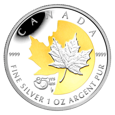 2013 $5 Five Dollars-25 years of the Royal Canadian Mint-maple leaf