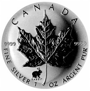 1999 Silver maple Leaf with Privy Marks-Rabbit