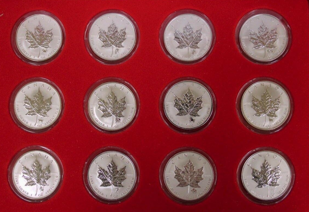 2004 Silver maple Leafs, Zodiac Privy Mark Set of 12 Coins