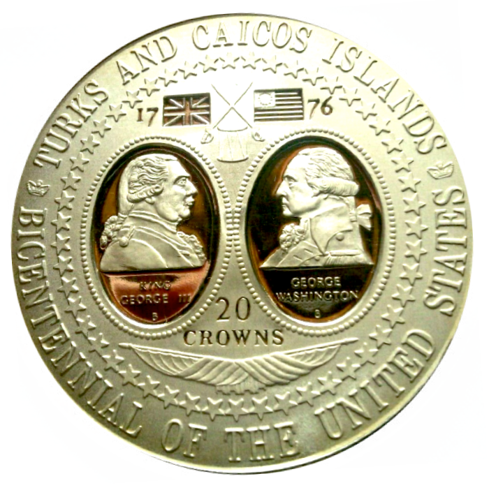 1976 TURKS AND CAICOS ISLANDS 1.15 OZ SILVER PROOF 20 CROWNS COIN