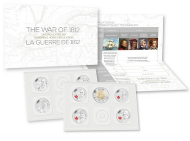 2012 The War of 1812. Canada Nickel Prooflike  Uncirculated Coin Set