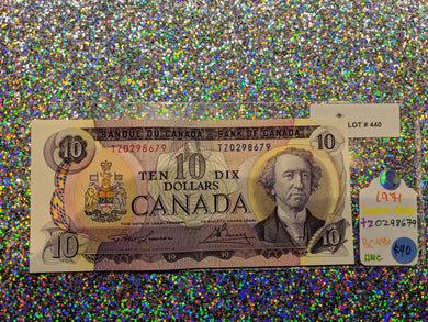 1971 Bank of canada 10 Dollars Lawson Bouey  Serial: T/Z 0298679 Lot: 440