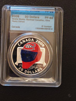 2009 Limited Edition Canada 20 Dollars Sterling Coloured Coin, Montreal Canadiens Goalie Mask