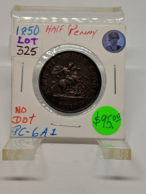 1850 One Half Penny Token No Dot- PC-6A1-Lot:325 - Trade your coins