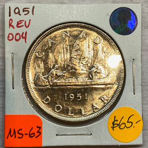 1951 Canada Silver One Dollar REV-004 MS-63 (22)