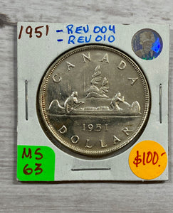 1951 Canada Silver One Dollar REV-004 AND REV010  MS-63 (24)