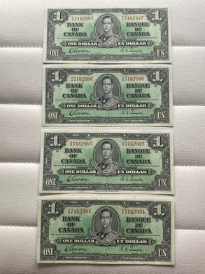 1937 Bank of Canada 1 Dollars- 4 consecutive Banknote Gordon Towers Serial: SA