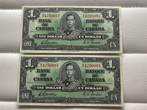 1937 Bank of Canada 1 Dollars- 2 consecutive Banknote Gordon Towers Serial: WA