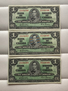 1937 Bank of Canada 1 Dollars- 3 consecutive Banknote Gordon Towers Serial: OA
