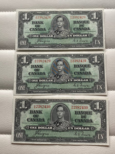 1937 Bank of Canada 1 Dollars- 3 consecutive Banknote Coyne Towers Serial: AN