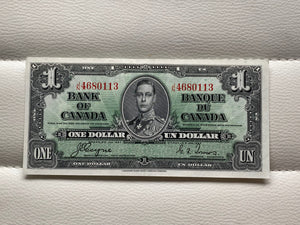 1937 Bank of Canada 1 Dollars- Banknote Coyne Towers Serial: JN 4680113