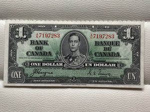 1937 Bank of Canada 1 Dollars- Banknote Coyne Towers Serial: AN 7197283