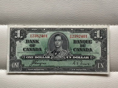 1937 Bank of Canada 1 Dollars- Banknote Coyne Towers Serial: AN 2382401