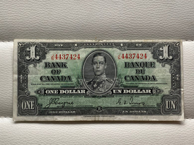 1937 Bank of Canada 1 Dollars- Banknote Coyne Towers Serial: JN 4437424