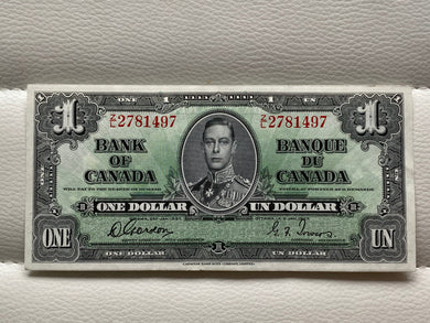 1937 Bank of Canada 1 Dollars Banknote Gordon Towers Serial: ZL 2781497