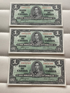 1937 Bank of Canada 1 Dollars- 3 consecutive Banknote Gordon Towers Serial: NN