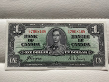 1937 Bank of Canada 1 Dollars Banknote Gordon Towers Serial: ON 7908468 - Trade your coins