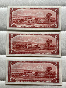 1954 Bank of canada 2 Dollars Devil's face Coyne Towers 3 Consecutive Note: AB 4783038