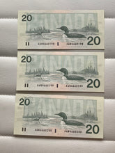 1991 Canada Banknote Knight-Dodge 3 Consecutive Note Serial: AWN