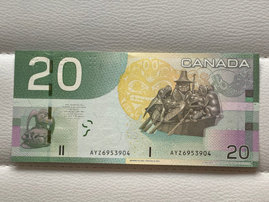 2004 Canada Banknote Jenkins-Dodge BC-64a  Serial: AYZ 6953904