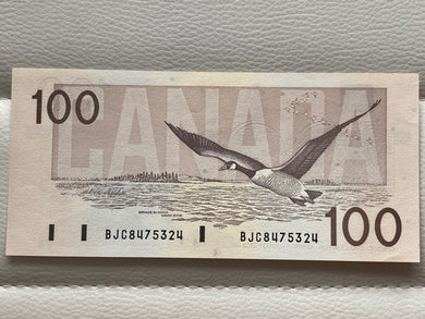 1988 canada Banknote 100$ Thiessen-crow Serial: BCJ 8475324