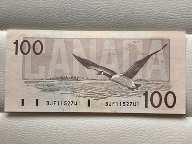 1988 canada Banknote 100$ Thiessen-crow Serial: BJF 1152741