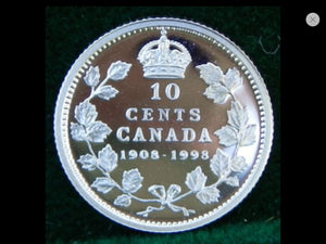 1908-1998 Canada Ten Cents Sterling Mirror Silver proof Heavy cameo - Trade your coins