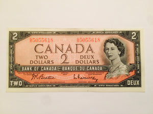 1954 Bank of Canada 2 Dollars Beattie Raminsky, GR 5055618