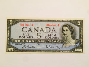 1954 Bank of Canada 5 Dollars Beattie Kaminsky OX 0478454