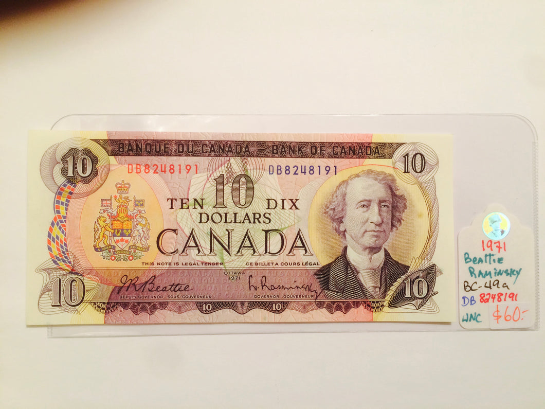 1971 Bank of canada 10 dollars Beattie-Raminsky DC 6461746