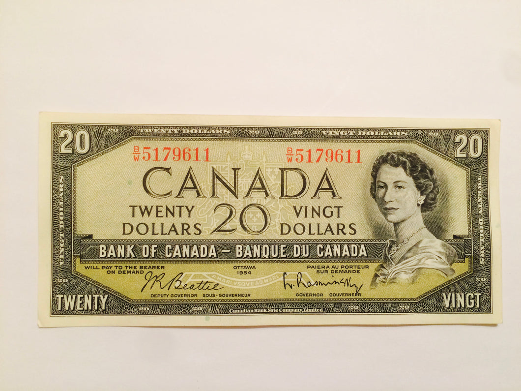 1954 Bank of canada 20 dollars Beattie-Raminsky BW 5179611