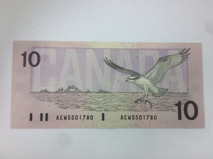 1989 Bank of Canada 10 Dollars McDonald Banknote AEW 5501780