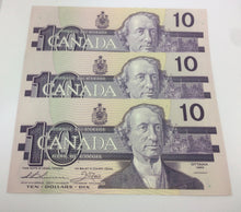 1989 Bank of Canada 10 Dollars MacDonald Banknote Series of 3 Note AEU 2407255 to 2407257