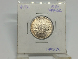 1916 France 1 Franc Silver - Trade your coins