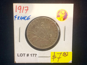 1917 France 2 Francs Silver coin Lot:177
