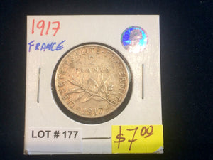 1917 France 2 Francs Silver coin Lot:177 - Trade your coins