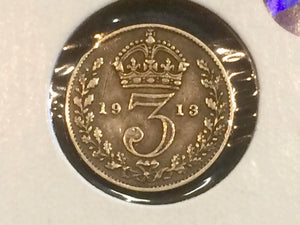 1913 Great Britain Three Pence Silver Coin Lot-178